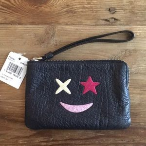 Coach Glitter Star Navy Pebbled leather wristlet